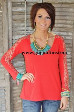 Giddy Up Glamour  $19.95  Somewhere Down in Texas Coral Top with Lace