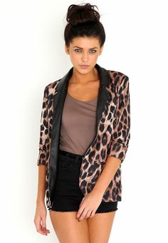 Leather Trim Leopard Print Blazer