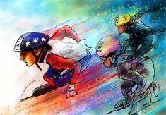 Ice Speed Skating 01 Painting - Ice Speed Skating 01 Fine Art Print - Miki De Goodaboom