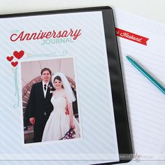 Printable Anniversary Journal- with journal prompts and photo pages to fill out each year.  SUCH a good idea!