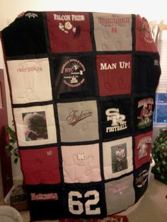 Extra shirts and jerseys become a great quilt from Quilt Loft - Go Big Red (college) and Go Falcons (HS)... we LOVE FOOTBALL!