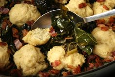 Collard Greens with Dumplings via Chow