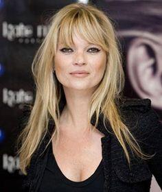 Coiffure avec frange Kate Moss #frange #coiffure #star