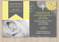 Yellow and Grey Baptism or Christening Invitation - DIY Custom Printable on Etsy, $10.00
