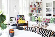 An interior with lots of colourful, patterned textiles | MAKE-LIVING