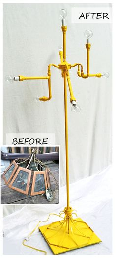 Upcycled standing lamp #Upcycle #DIY #Industrial #Lamp