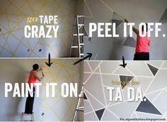 Faça uma linda e descolada estampa de triângulos usando fita adesiva de apoio! \o/