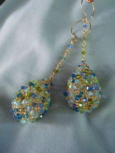 Crocheted Wire Crystal Teardrop Earrings by dragonswire on Etsy, $76.00