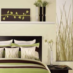 chocolate brown and green decor. This is what our master bedroom is in and I love it! I love the grass pillows