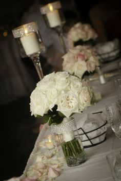 white rose centerpieces with sparkle