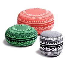 Zig Zag Poufs: Love the print on these poufs by Donna Wilson.