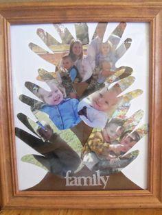 How cute...family tree made of handprints and photos.  http://moneysavingmom.com/2012/05/how-to-make-a-hand-print-photo-family-tree.html