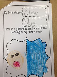 "Homophone worksheet that each child creates and then we make into a ""homophone book""."