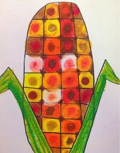 artists, warm colors, art idea, fall corn, collages, oil pastels, corn ear, fall art projects, 1st grade art lessons