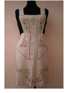 Vintage hand embroidered 1950's style bib apron