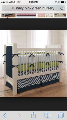 Navy, green and white nursery!