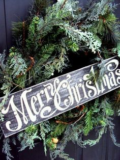 holiday, christmas wreaths, front door wreaths, christmas signs, font, rustic christma, front doors, merri christma, wooden sign