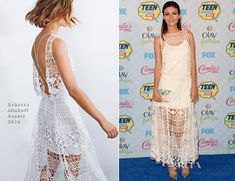 For the record, Victoria Justice's dress at the 2014 Teen Choice Awards (by Rebecca Minkoff) -- gorgeous and crochet-inspired for sure, but NOT actually crochet.