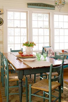 farm house dining. Good color for painting dining room chairs