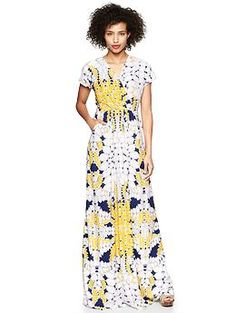 Wish this was cotton instead of rayon: Printed crossover maxi dress | Gap