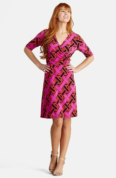 Donna Morgan Print Stretch Jersey Faux Wrap Dress available at #Nordstrom