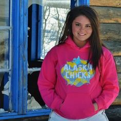 """""""Alaska Chicks"""" Pink with Yellow Chevron Hoodie. More colors available!"""