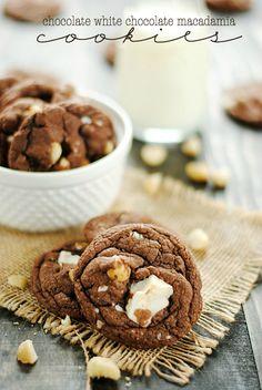 Chocolate White Chocolate Macadamia Nut Cookies | www.somethingswanky.com