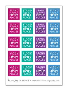 1x1 inch Graphic Squares in Printable Collage Sheet - Stand Ye In Holy Places (2013 LDS Mutual Theme). $2.50, via Etsy.