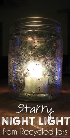 recycl jar, recycled jars, night lights, kid
