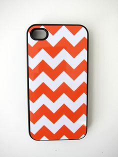 Orange and White Chevron iPhone Case