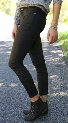 Add a little edge with these Glossy Black Pants from The Nest On Main