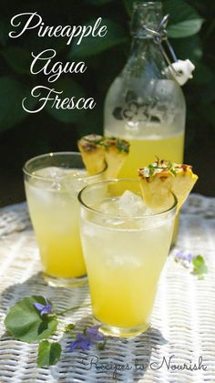 Pineapple Agua Fresca {Honey Sweetened + Coconut Water} | Recipes to Nourish