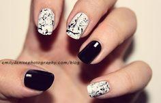 easy black and white splatter nail art