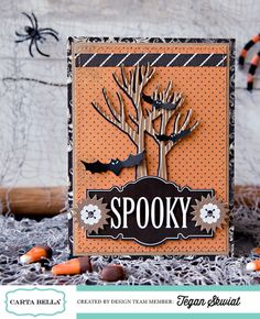 Spooky Card - Scrapbook.com- handmade halloween card made using the Spooky collection paper & dies from Carta Bella