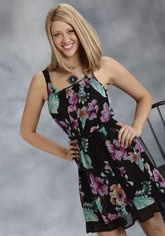 Roper® Black Floral Printed Georgette Western Dress