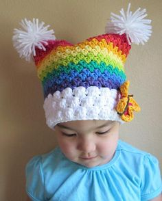 Crocheted Rainbow Hat ~ love the colors