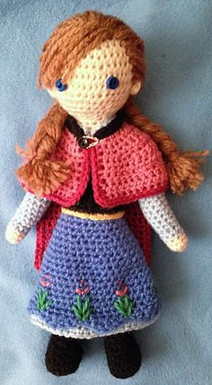 """Anna Doll - Disney's Frozen - Free Amigurumi Pattern - PDF File - click """"download"""" or """"Free Ravelry download"""" here: http://www.ravelry.com/patterns/library/anna---frozen-crocheted-doll-pattern"""