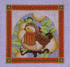 "MELISSA SHIRLEY--Handpainted Needlepoint--""1ST DAY OF CHRISTMAS"" PARTRIDGE"""