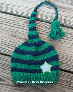 Knit  Emerald Green and Navy Hat with Light blue (Lime background) star, elf hat, pixie beanie,   Childrens and Baby Beanie,