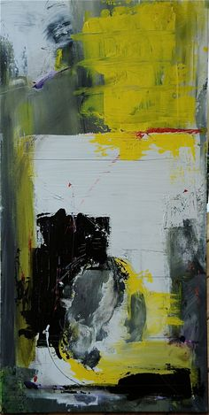 YELLOW ON WHITE  Original Abstract Acryllic painting by LivsGlad, $700.00