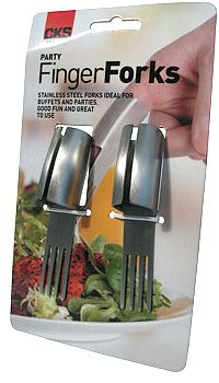 Finger food meet finger forks.  A new way for your guests to enjoy the appetizers.