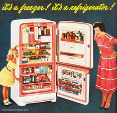 It's a Freezer! It's a Refrigerator! | Flickr - Photo Sharing! #vintage #kitchen #1950s #refrigerator #housewife