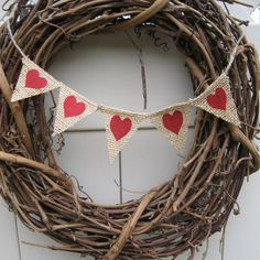 Valentine Banner, Red heart, burlap bunting, A152, rustic wedding sign accessory. $12.00, via Etsy.