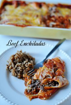 Easy & Delicious Homemade Beef Enchiladas.  These can be made ahead and bake in the over in time for dinner.  www.thirtyhandmadedays.com