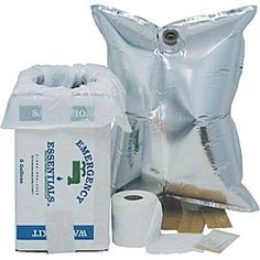 Deluxe Sanitation and Water Kit. Store up to 5 gallons of water in this metalized bag in a box. When the water is gone, the box can be lined with a bag and used as an emergency toilet. $7.95