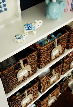 love the elephant luggage tags to label baskets, and the little elephant art the left!