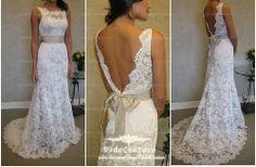 Custom Made Sheath Anlencon Lace Bridal Dress,Sleeveless Wedding Dress Gown,V-back Beach Wedding Dress on Etsy, $239.00