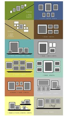 Designer Photo Gallery Wall Cheat Sheet ! This Gives You The Layout Ideas (Composition), And Even The Exact Dimensions, Which Make Them Quick & Super Easy To Create Perfectly !