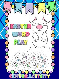 """This center activity has students making words from the phrase """"Happy Easter"""" Includes printable letter cards for students to use. There is also blank cards to make your own phrase."""