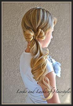little girls, poni, long hair, flower girl hair, lock